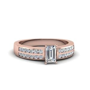 Two Row Channel Diamond Emerald Cut Engagement Ring In 14K Rose Gold