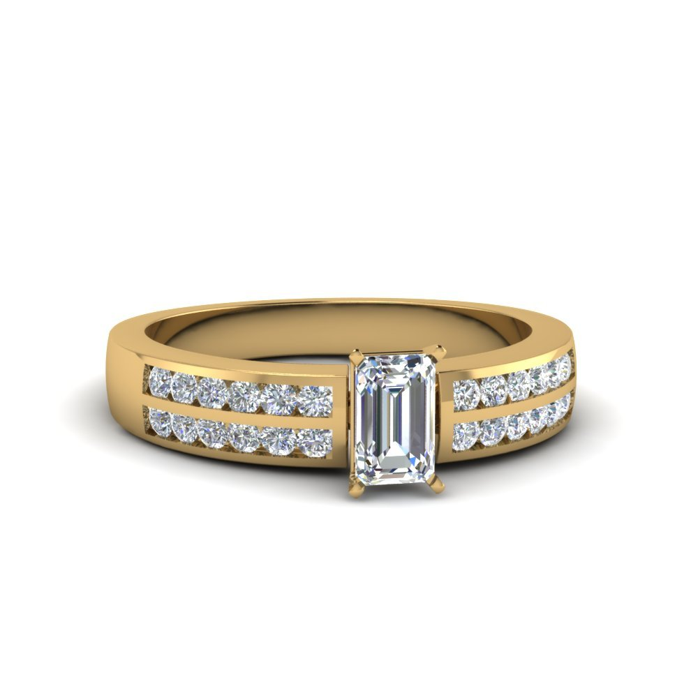 Emerald Cut Cluster Diamond Bridal Set For Women In 14K Yellow Gold