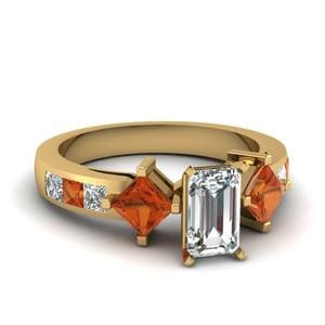 Emerald Cut Orange Sapphire Ring