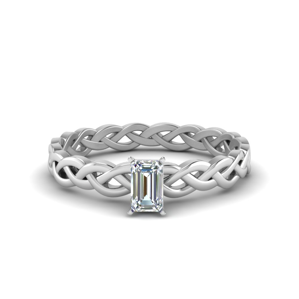 Twisted Solitaire Emerald Cut Ring