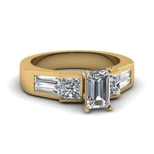 Art Deco Emerald Cut Diamond Engagement Ring In 14K Yellow Gold