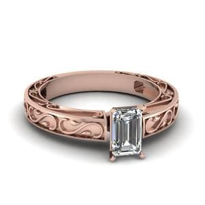 Carved Emerald Cut Diamond Solitaire Engagement Ring In 14K Rose Gold