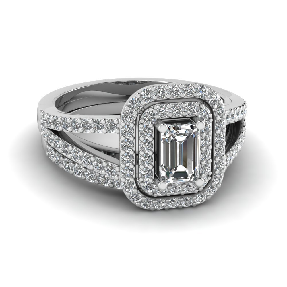 Emerald Cut Double Halo Wedding Set