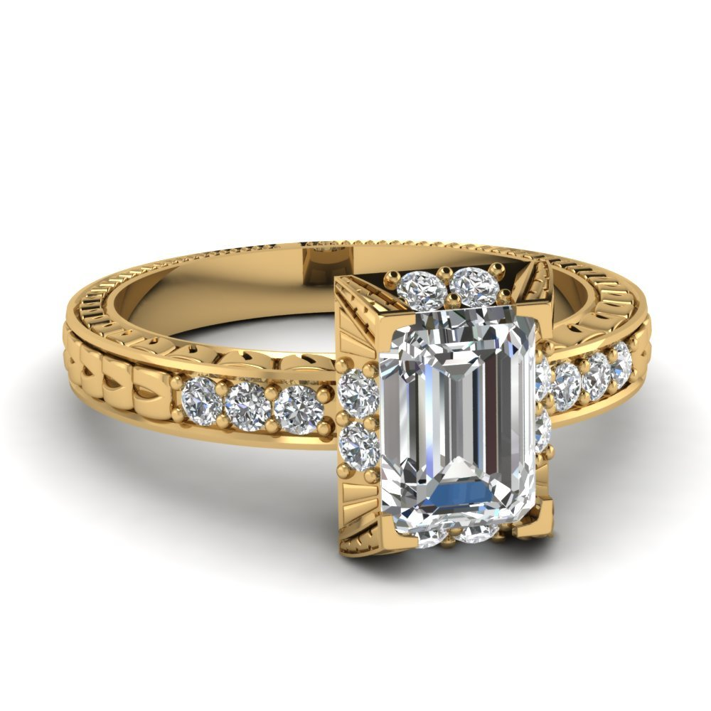 Vintage Art Deco Emerald Cut Diamond Engagement Ring In 18K Yellow Gold