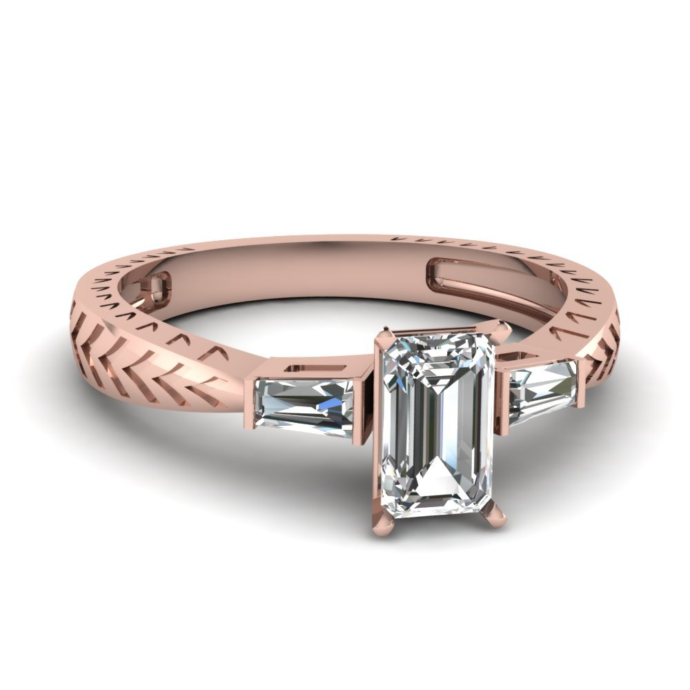 Tapered Vintage 3 Stone Emerald Cut Engagement Ring In 14K Rose Gold