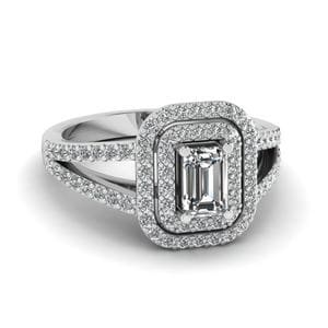 Split Shank Emerald Cut Halo Ring