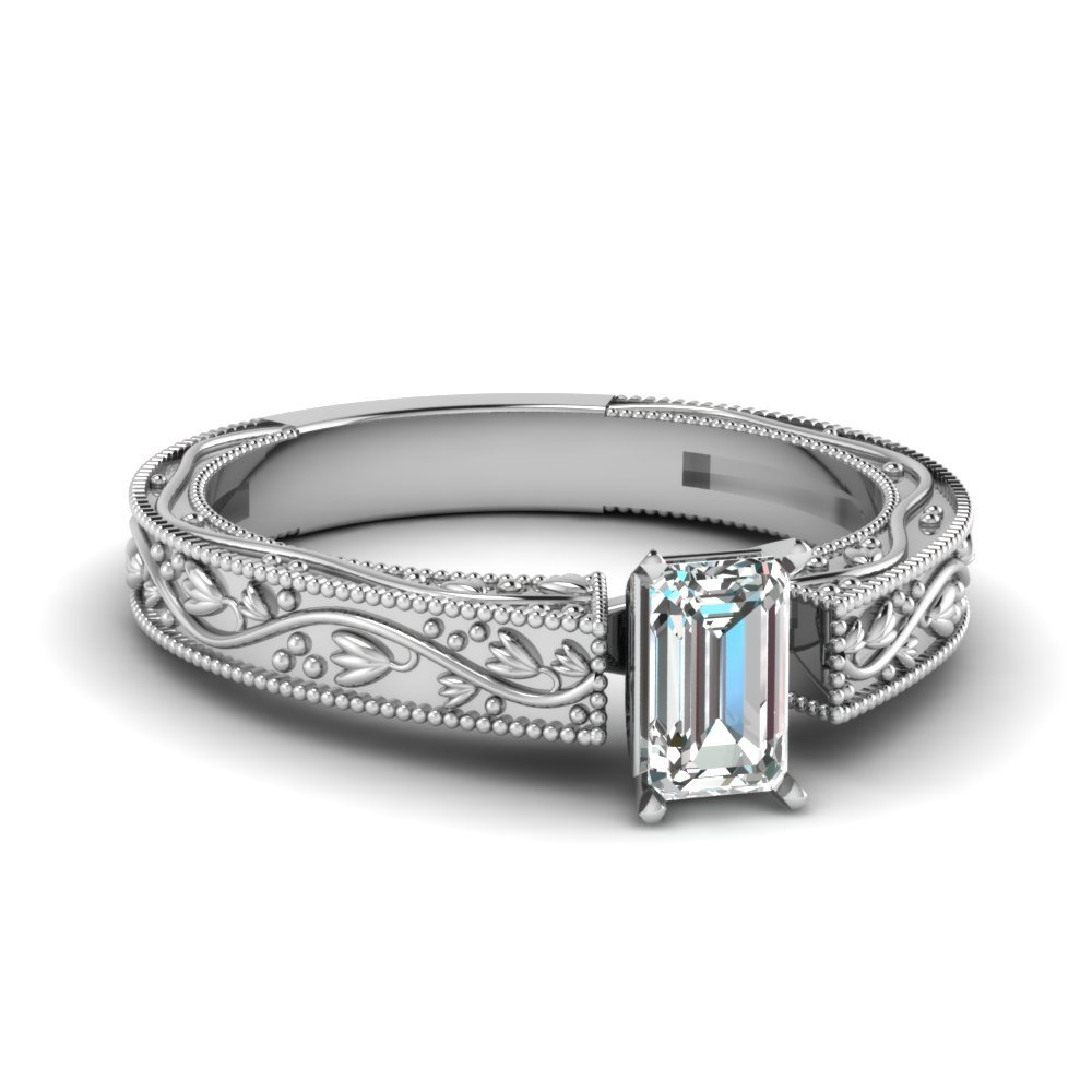 Floral Emerald Cut Diamond Solitaire Ring