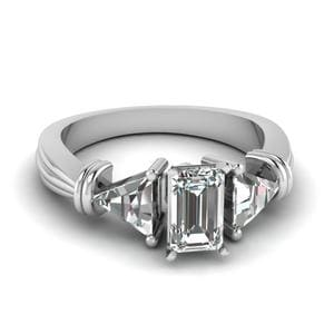 Trillion 3 Stone Emerald Cut Diamond Engagement Ring In 14K White Gold