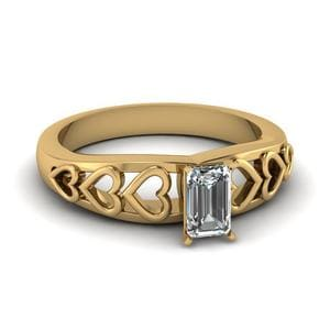 Heart Design Emerald Cut Ring