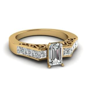 Channel Diamond Emerald Cut Vintage Engagement Ring In 14K Yellow Gold