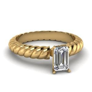 Single Emerald Cut Rope Pattern Ring