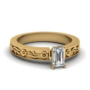 Emerald Cut Flower Engraved Solitaire Engagement Ring In 14K Yellow Gold