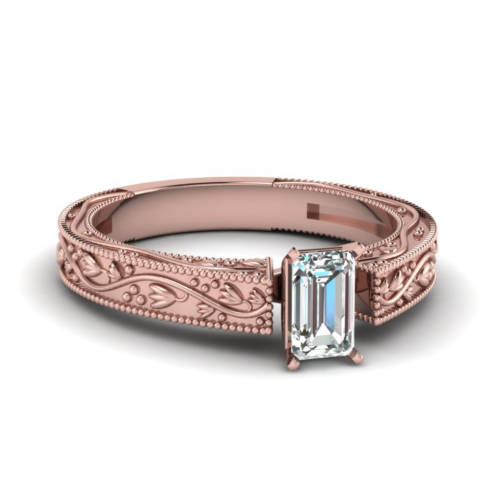 Floral Engraved Emerald Cut Diamond Solitaire Engagement Ring In 18K Rose Gold
