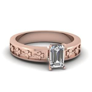 Emerald Cut Floral Solitaire Engagement Ring In 18K Rose Gold