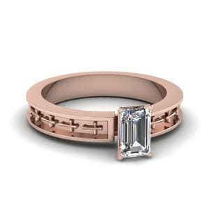 Cross Engraved Emerald Cut Solitaire Engagement Ring In 18K Rose Gold
