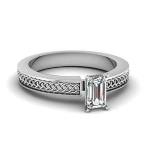 Weaved Design Emerald Cut Solitaire Engagement Ring In 18K White Gold