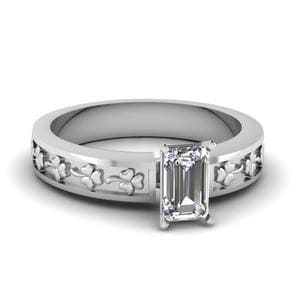 Emerald Cut Floral Solitaire Engagement Ring In 18K White Gold