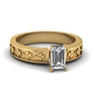 Emerald Cut Floral Solitaire Engagement Ring In 18K Yellow Gold