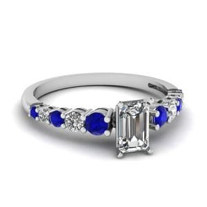 Graduated Emerald Cut Diamond Ring With Sapphire In 14K White Gold