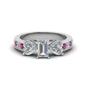 Emerald Cut 3 Stone Pave Ring
