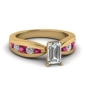 Tapered Channel Set Emerald Cut Diamond Engagement Ring With Pink Sapphire In 14K Yellow Gold