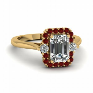 Ruby Emerald Cut Diamond Ring