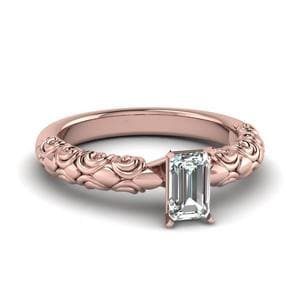 Emerald Cut Diamond Filigree Accent Solitaire Engagement Ring In 14K Rose Gold
