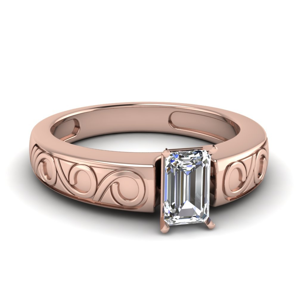 Emerald Cut Filigree Solitaire Ring In 18K Rose Gold