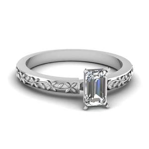 Floral Engraved Emerald Cut Diamond Solitaire Ring In 14K White Gold