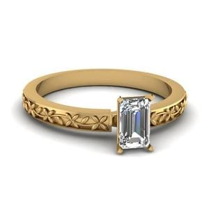 Floral Engraved Emerald Cut Diamond Solitaire Ring In 14K Yellow Gold