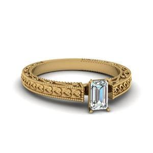Milgrain Emerald Cut Diamond Ring