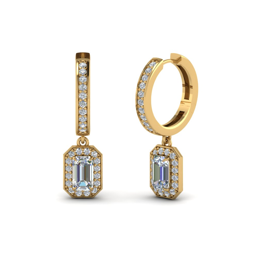 Emerald Cut Halo Drop Diamond Earring In 18K Yellow Gold