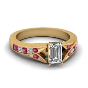 Emerald Cut Split Shoulder Ring