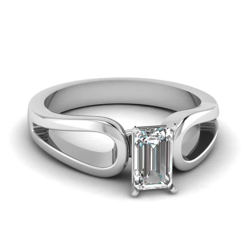 Emerald Cut Diamond Loop Duet Soltaire Ring In 14K White Gold