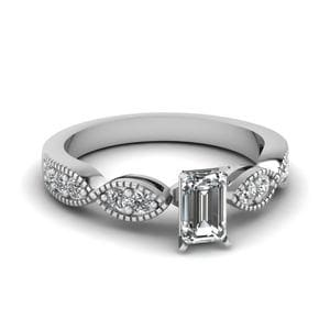 Emerald Cut Art Deco Milgrain Diamond Engagement Ring In 14K White Gold