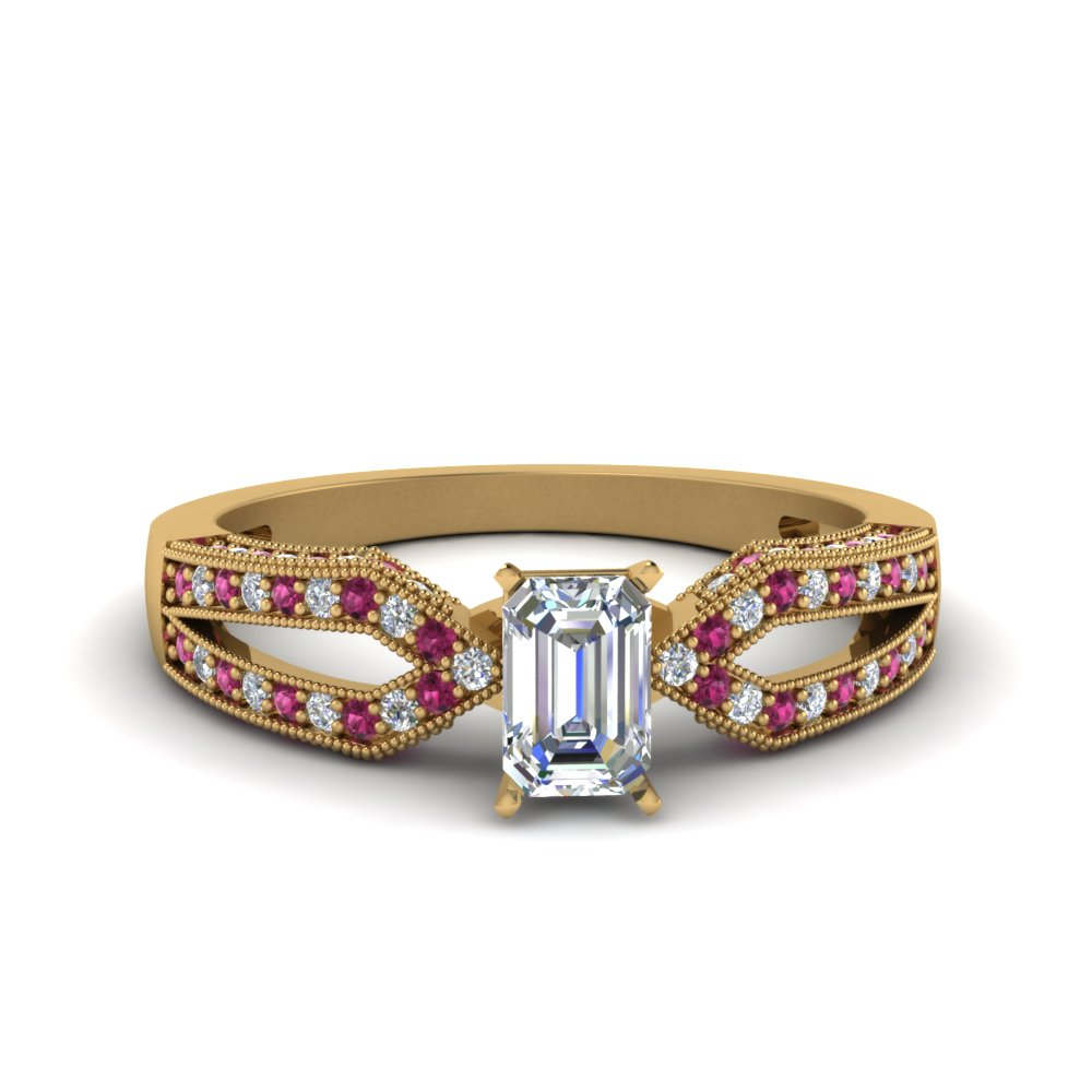 Antique Split Pave Emerald Cut Diamond Engagement Ring With Pink Sapphire In 14K Yellow Gold