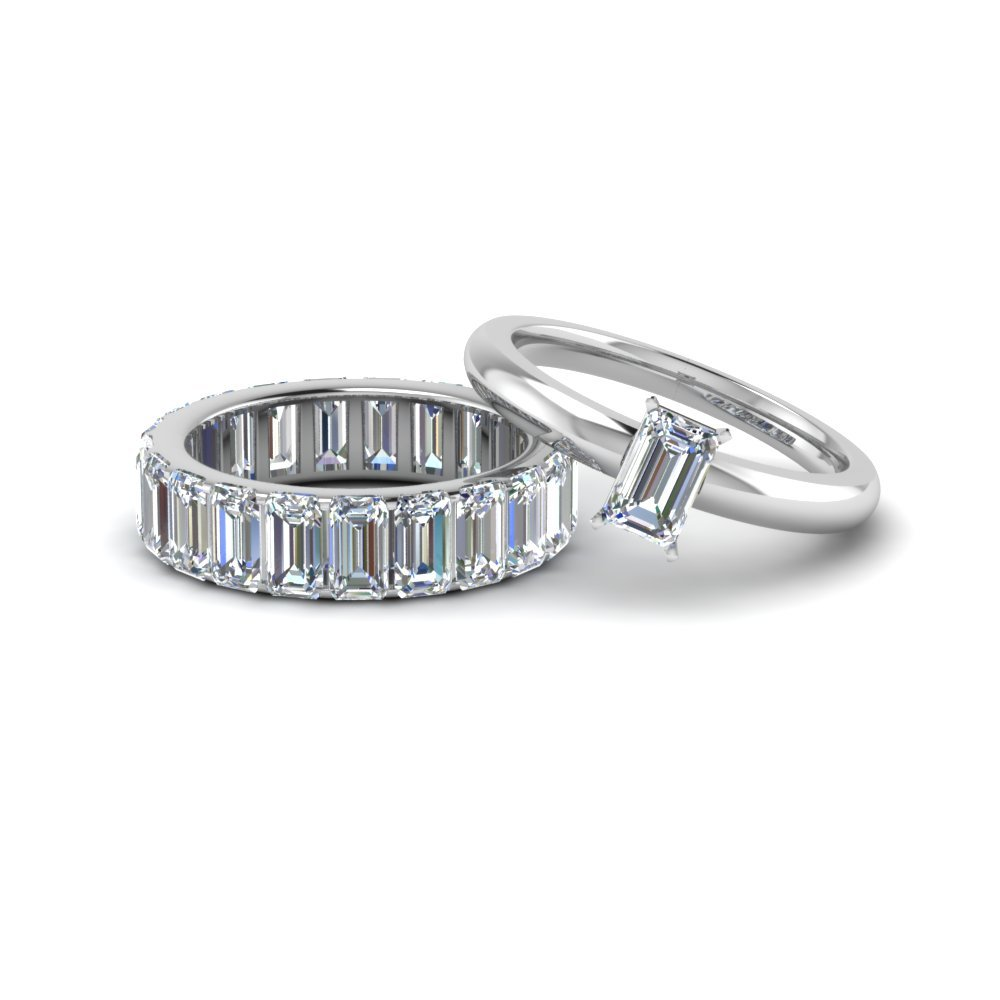 Emerald Cut Ring With Eternity Band