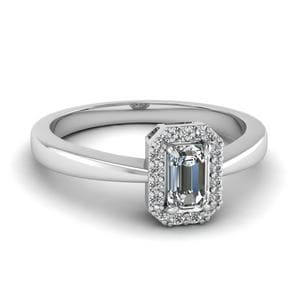 Delicate Emerald Cut Halo Diamond Ring