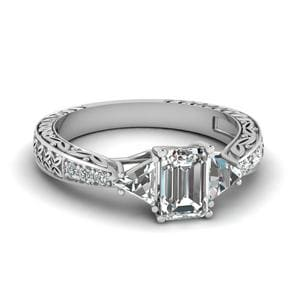 Antique Trillion and emerald cut diamond Ring