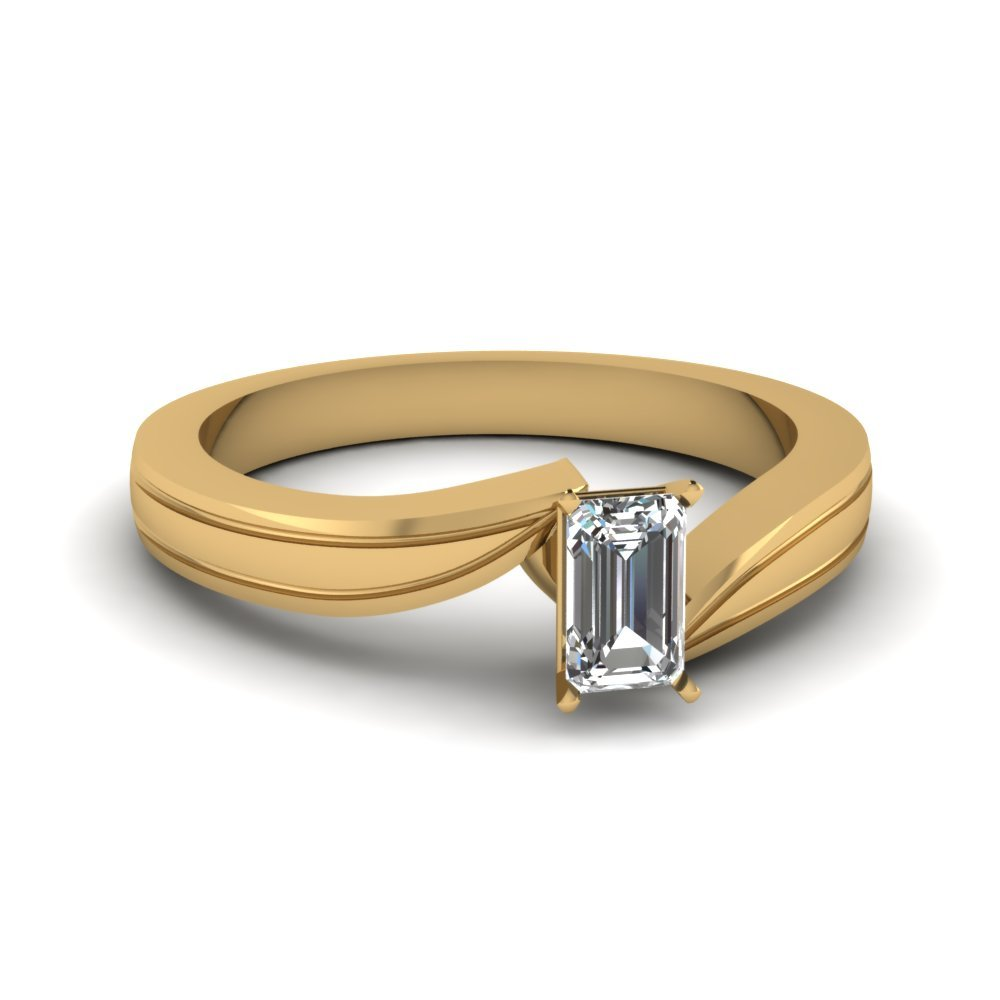 Emerald Cut Diamond Twisted Solitaire Engagement Ring In 14K Yellow Gold