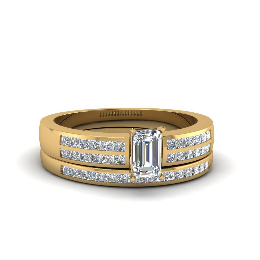 Emerald Cut Double Row Channel Diamond Wide Bridal Set In 14K Yellow Gold