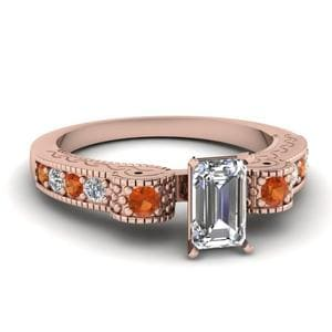 Engraved Antique Pave Emerald Cut Diamond Engagement Ring With Orange Sapphire In 18K Rose Gold