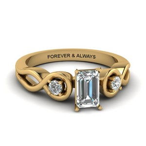 Emerald Cut Engraved Three Stone Diamond Engagement Ring In 14K Yellow Gold