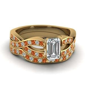 Emerald Cut Entwined Pave Diamond Bridal Set With Orange Sapphire In 14K Yellow Gold