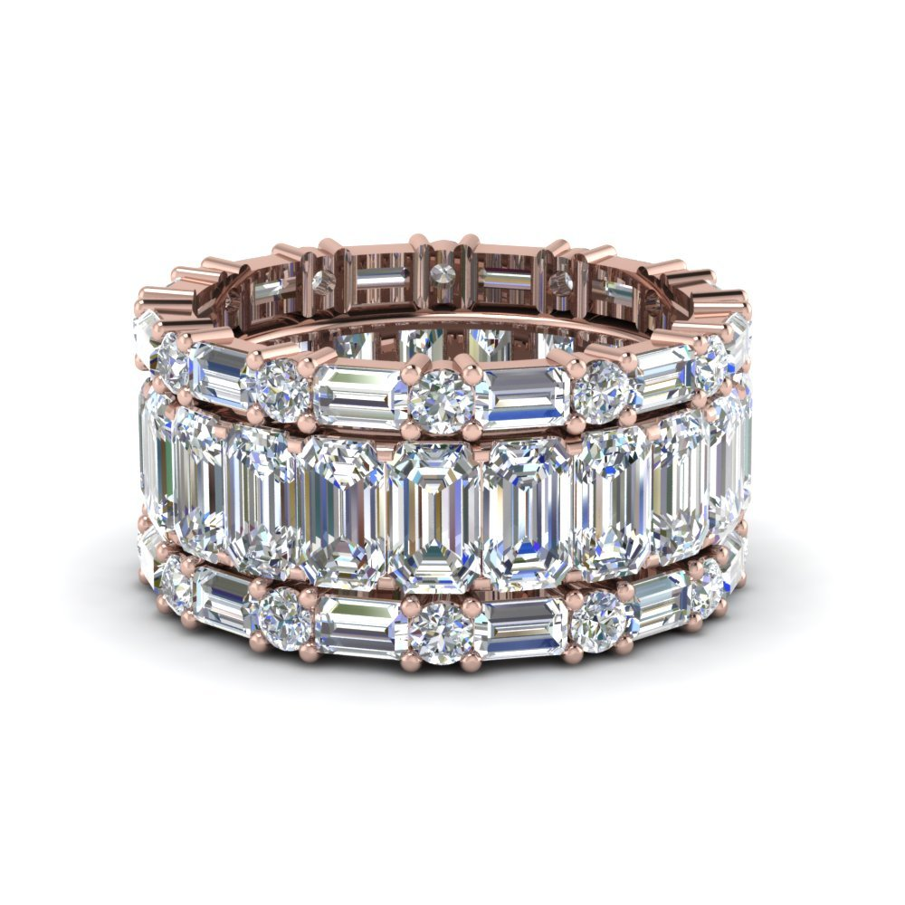 Emerald Cut Eternity Band With Matching Baguette And Round