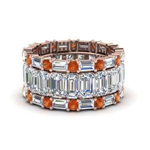 Orange Sapphire Trio Wedding Band