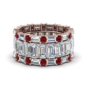 Multi Stack Ruby Wedding Band