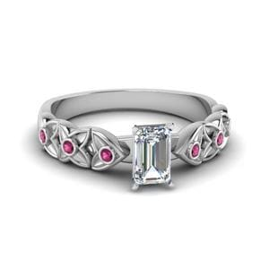 Emerald Cut Floral Accent Ring