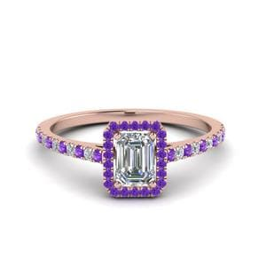 Purple Topaz Halo Engagement Ring