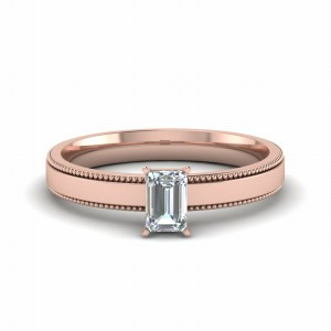 Milgrain Rose Gold Wedding Ring